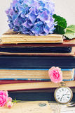 vintage books and letters with flowers Royalty Free Stock Image