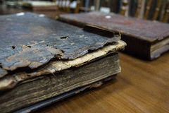 Vintage books. In a library Royalty Free Stock Images