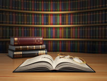 Vintage books in library. Concept of education or book store. Royalty Free Stock Photography
