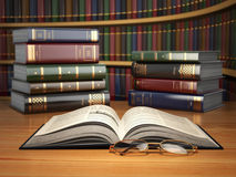 Vintage books in library. Concept of education or book store. Stock Photography