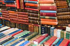 Vintage books. Many vintage books in market stock photography