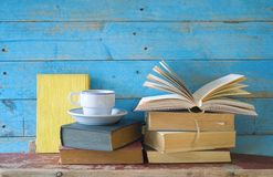 Vintage books one opend Stock Image