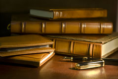 Vintage books and pen Stock Image