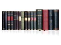 Vintage books in a row, isolated, free copy space. Vintage books in a row, isolated on white backgrond, clipping path, empty labels with free copy space Stock Photo