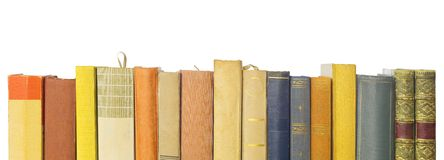 Vintage books in a row Royalty Free Stock Photography