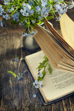 Vintage books and  summer blue flowers. Royalty Free Stock Photo
