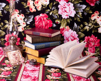 Vintage books and teacup Stock Photo