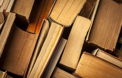 Vintage books, view from above royalty free stock photos