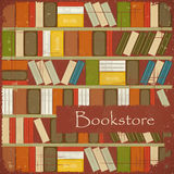 Vintage Bookstore Background. Bookcase Background - Grunge style Stock Photography