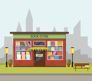 Vintage bookstore. Flat style. Royalty Free Stock Images
