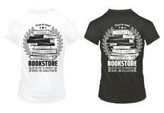 Vintage Bookstore Prints On Shirts Template. With inscriptions books and laurel wreathes isolated vector illustration Stock Images