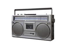 Vintage Boom Box Portable Radio Cassette Player. Vintage bom box portable stereo isolated with clipping path Stock Images