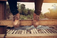 Vintage boots men lifestyle of hikes and fashion royalty free stock image