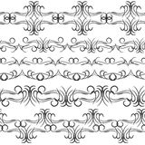Vintage border design elements, black on white background.  Seamless pattern for frames and borders. Used pattern brushes included. Vector illustration Stock Photo