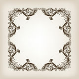 Vintage border frame calligraphy engraving baroque Stock Images