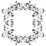Vintage border frame engraving with retro ornament pattern in antique floral style decorative design. stock illustration