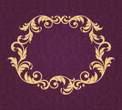 Vintage border frame gold background calligraphy vector. Vector vintage gold border frame filigree with retro ornament pattern in antique baroque style ornate stock illustration