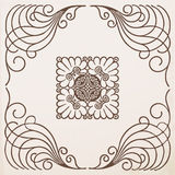 Vintage border frame with ornament. Vector set royalty free illustration