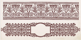 Vintage border frame with retro ornament. Vector royalty free illustration