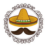 Vintage border with hat and moustache mexican culture Stock Photography