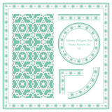 Vintage Border Pattern 381 Islamic Polygon Star Geometry. Antique retro abstract seamless pattern frame and background can be used for wallpaper, web page Royalty Free Stock Photos
