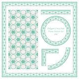 Vintage Border Pattern 444 Polygon Cross Star Geometry. Antique retro abstract seamless pattern frame and background can be used for wallpaper, web page Royalty Free Stock Photography