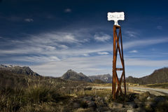 Vintage border post, Chile Stock Photography