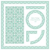 Vintage border seamless pattern background set curve cross geome. Try polygon frame flower, ideal for invitation greeting card or memo template design stock illustration