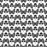 Vintage botanical butterfly and plant pattern Stock Image