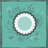 Vintage botanical frame in turquoise Stock Photos