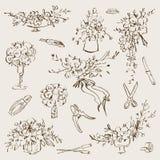 Vintage botanical illustration flowers bouquet and floristic tools set. Wedding concept. Flower concept. Vector design stock illustration