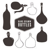 Vintage bottle collection. Hand drawn elements. Royalty Free Stock Photo