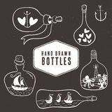 Vintage bottle collection in nautical style. Hand drawn