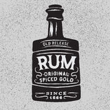 Vintage bottle of rum. Vector typography design of alcoholic drinks Stock Images