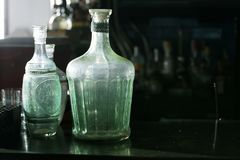 Vintage bottles with black space Royalty Free Stock Photo