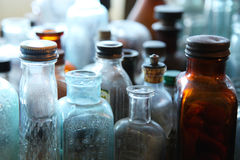 Vintage bottles. In variation of tones in a nice natural lighting royalty free stock photo