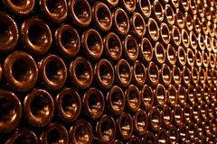 Vintage bottles in the wine cellar Royalty Free Stock Image
