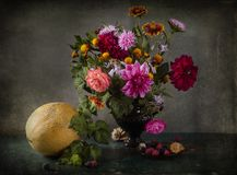Still life with bouquet of autumn colors in a vase Stock Images