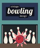 Vintage bowling design - strike in the old-fashioned colors. Vector illustration of vintage retro bowling design - strike in the old-fashioned colors Stock Photos