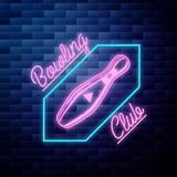 Vintage bowling emblem glowing neon sign. On brick wall background royalty free illustration