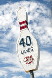 Vintage Bowling Pin Neon sign advertising 40 lanes. Great vintage Bowling Alley sign advertising 40 lanes available stock image
