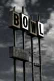 Vintage Bowling sign (grunge). A vintage bowling sign with a wonderful grainy, discolored filter. Good retro / dreamlike Stock Photography