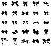 Vintage bows silhouettes set Stock Image