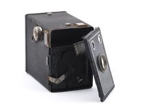 Vintage box camera on repair. Isolated on white Stock Photos