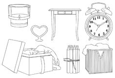 Vintage Box and Clock Vector Line Art Illustration. Vintage Box and Clock for many purpose such as put on architecture and interior magazine, blog, book, website Stock Photos