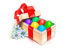 Vintage box with eggs for easter holiday Stock Photography