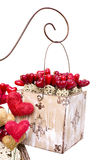 Vintage box with hearts isolated on white. Vintage Valentine box with hearts isolated on white (clipping path included stock images