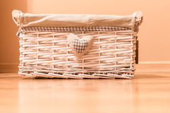 Vintage box for home stuff. Closeup of beautiful white box Royalty Free Stock Images