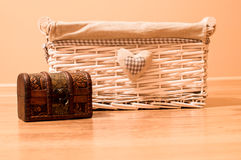 Vintage box for home stuff. Closeup of beautiful white box Royalty Free Stock Photo