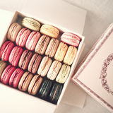 Vintage box of macarons royalty free stock photography